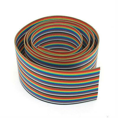 New 2m 40 Way Flat Color Rainbow Ribbon Cable Wire Rainbow Cable