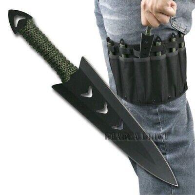 6PC Ninja Naruto Tactical Combat Hunting Kunai Throwing Knife Set w/ Sheath CASE