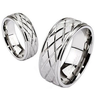 Classic Traditional Flat Wedding Band Diamond Cut Grooved Stainless Steel Ring  Flat Grooved Wedding Ring