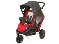 EXDISPLAY HAUCK RED FREERIDER DOUBLE TANDEM PRAM PUSHCHAIR BUGGY FROM BIRTH -3 YEARS WITH RAINCOVER