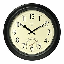 Chaney Instrument 18 Metal Indoor Or Outdoor Atomic Clock With Thermometer