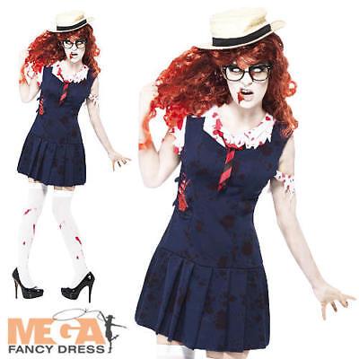 Zombie School Girl Ladies Fancy Dress High School Horror Adult Halloween Costume