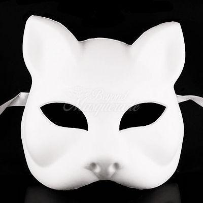 Blank Gatto Cat Venetian Cosplay ANBU Costume Party DIY Mask W7340 [White] - Cat Diy Costume