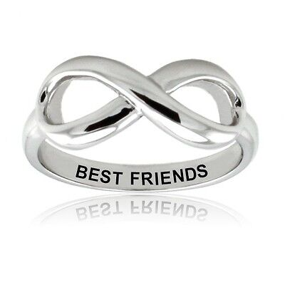 Sterling Silver 925 Couples Best Friends Infinity Promise (Silver Best Couple Rings)