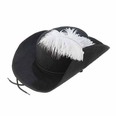 Black Felt 3 Musketeers Hat with White Feather Plume Costume Accessory