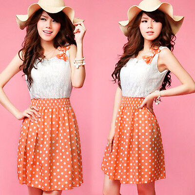 Elegant Ladies Sleeveless Bowtie Polka Dot Evening Mini Party Dress Clubwear   on Rummage