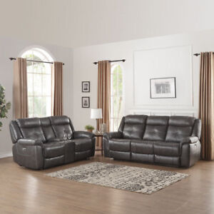 Justin Leather Power Reclining Sofa & Love Seat - Charcoal
