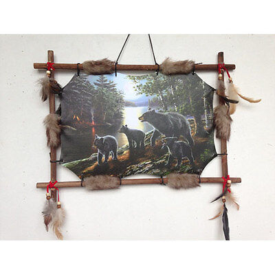 """22""""x16"""" Black Bears In Forest Dream Catcher Wall Hang Decor Feathers Wood Frame"""