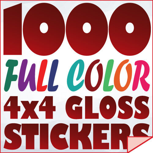 1000 Full Color Custom 4x4 STICKERS on 70Lb Label Printing with UV Gloss