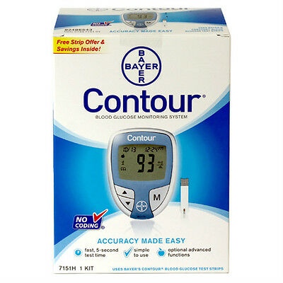 Bayer Contour Blood Glucose Meter 1 Ea By Bayer Included 10 Test Strips