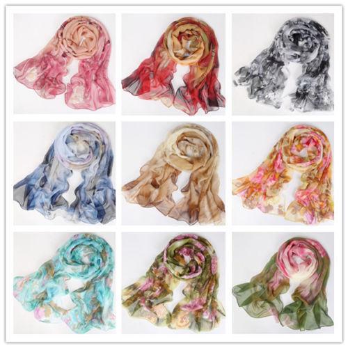 Women Lady Chiffon Floral Long Soft Neck Scarf Shawl Scarves Stole Wraps Fashion