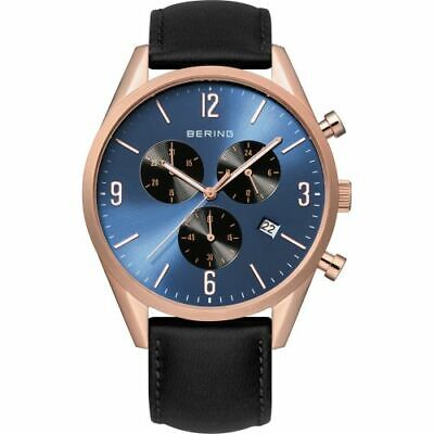 Bering Time Classic Mens Pink & Black Leather Chronograph Watch w/Blue 10542-567