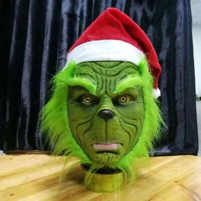US Grinch Stole Christmas Latex Mask With Long Hair Xmas Hat Helmet Party Props