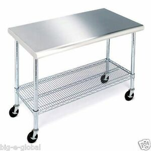 Rolling Stainless Steel Top Kitchen Work Table Cart