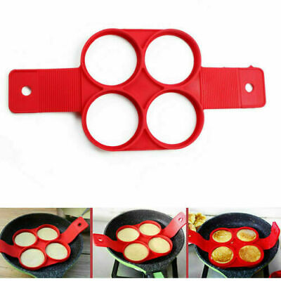 Silicone Pancakes Mould Maker Nonstick Round Egg Ring Omelette Cooker Pan Flip