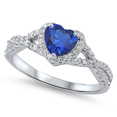 .925 Sterling Silver Simulated Heart Blue Sapphire CZ Promise Ring Size 4-12 NEW Simulated Sapphire Heart Ring