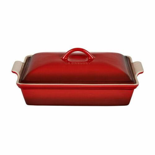 New Le Creuset Heritage 4 QUART Rectangular Casserole Dish W Lid Cerise Red - $76.00