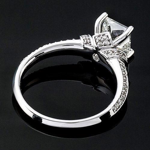 1.48 CT PRINCESS CUT DIAMOND SOLITAIRE ENGAGEMENT RING 14K WHITE GOLD