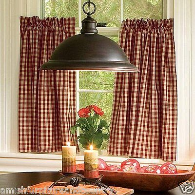 Curtains Ideas 36 inch cafe curtains : Farmhouse 100% Cotton Red Tan Mini Check 36 Inch Cafe Curtains