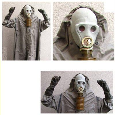 NVA Abc Gummimantel Halloween Gasmaske Fetisch Black Style Abc Schutzanzug