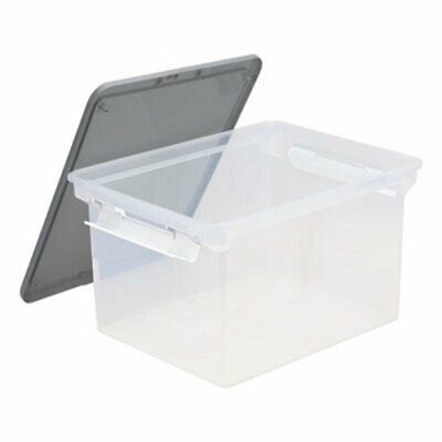 Storex Portable File Tote Wlocking Handle Storage Box Clear Stx61530u01c
