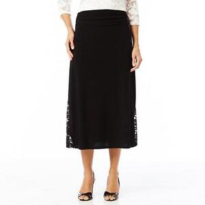 Women's Long Black Skirt With Lace Inserts