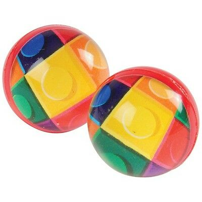 12 Building Block Brick Rubber Bouncy Bounce Ball 32mm Birthday Party Bag Favor - Bouncy Ball Party