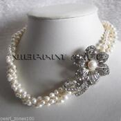 3 Row White Pearl Necklace