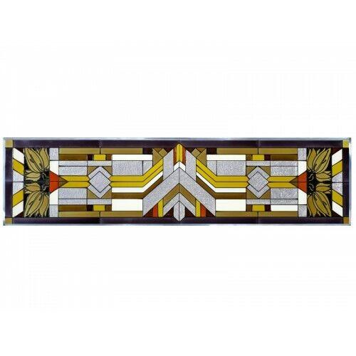 "Mission Style Art Glass Window Panel Craftsman Color 42"" Horizontal Hanging"