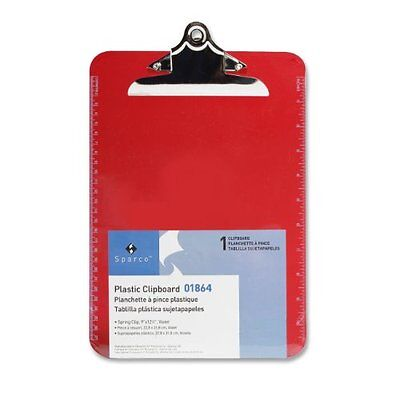 Sparco Transparent Clipboard - 9 X 12.50 - Spring Clip - Plastic - Red