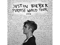 JUSTIN BIEBER PURPOSE WORLD TOUR TICKETS x2 MANCHESTER ARENA