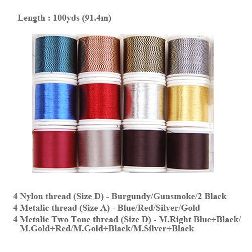 PacBay Assorted Metallic Rod Winding Thread 12 colors 100yd size D