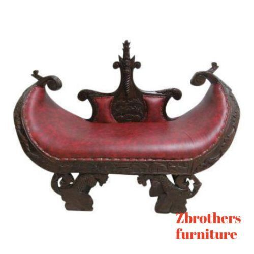 Antique Solid Mahogany French Regency Hand Carved U Bench Seat Reproduction