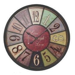 Large Hanging Metal Wall Clock Live Laugh Love Round Multi-Color Vintage Style