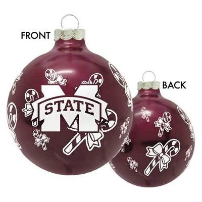 MISSISSIPPI STATE BULLDOGS NCAA Glass Christmas Ornament Holiday Decoration -