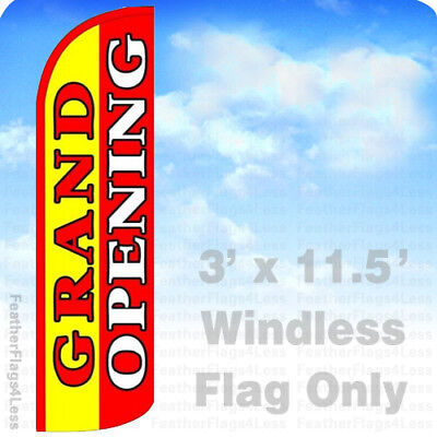 Grand Opening - Windless Swooper Feather Flag Banner Sign 3x11.5 - Yq