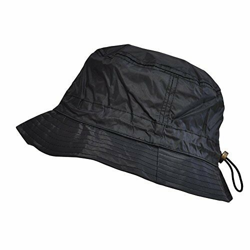 Toutacoo, Adjustable Waterproof Bucket Rain Hat in Nylon 01-Black