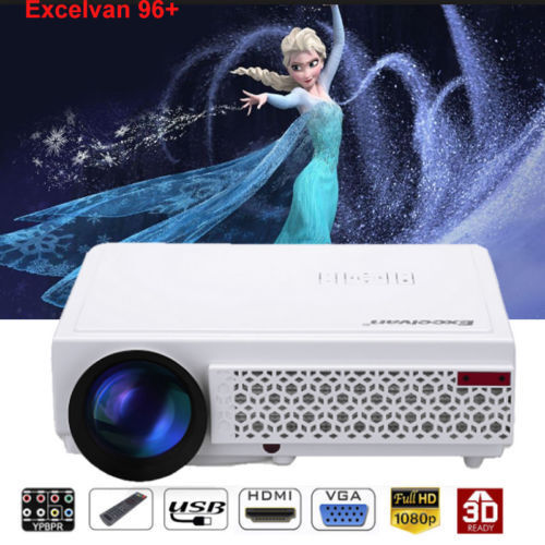 Excelvan 96+ LCD LED 1080P HD HDMI Beamer Heimkino Video Projektor 3D 5000Lumens
