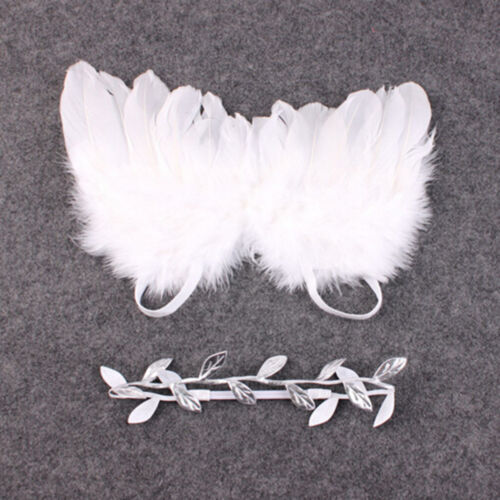 Newborn Baby White Angel Wings Headband Costume Photo Photography Props OutfitTE