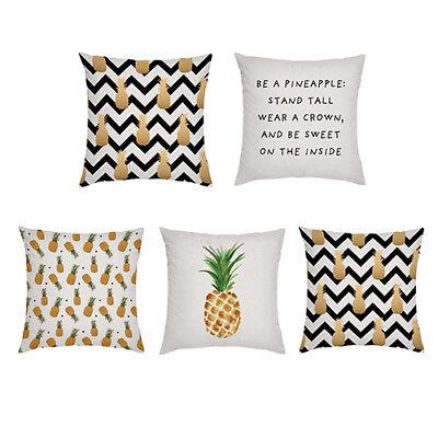 5pc Set Pineapple Designer Print Outdoor Cushion Covers Waterproof Garden