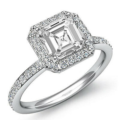 2 ct Classic Asscher Cut Diamond Engagement Halo 14K White Gold G VS2 GIA Ring