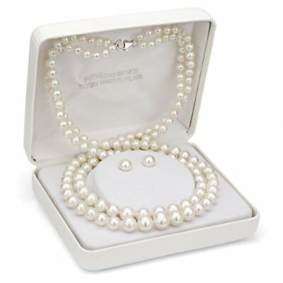Sterling Silver 4-9mm White Freshwater Pearl Graduated 2 Row