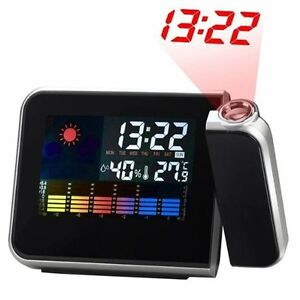 Digital LCD LED Projector Alarm Clock Projecting Weather Station Thermometer New