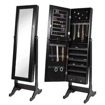 Standing Full Length Mirror Vanity Floor Makeup Black Wood Jewelry Case Lady NEW