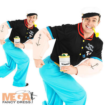 Popeye Mens Fancy Dress TV Show Cartoon Sailor Man 80s 1980s Adults Costume New