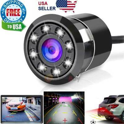 170  Cmos Car Rear View Backup Camera Reverse 8 Led Night Vision Waterproof New
