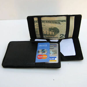 BLACK-Genuine-Leather-LEATHER-MAGIC-WALLET-Ticket-Thin-Safely-Holder