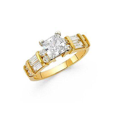 14K Yellow Gold Wedding Engagement Ring Man Made Diamond
