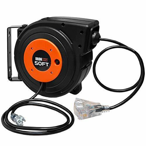50 Ft Retractable Extension Cord Reel - 2 In 1 with 3 Electrical Outlets