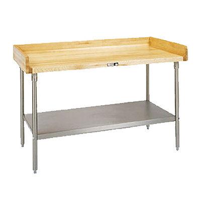 John Boos Dss08 Wood Top Work Table W Stainless Undershelf 72 W X 30 D